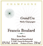 Etiquette Champagne Francis Boulard Grand Cru Mailly-Champagne
